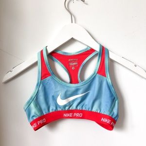 Nike Pro Girls Sports Bra Blue and Coral